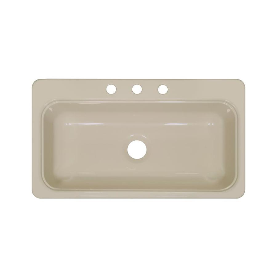 Lyons Style Sb 19-in x 33-in Almond Single-Basin Acrylic Drop-in or Undermount 3-Hole Commercial/Residential Kitchen Sink
