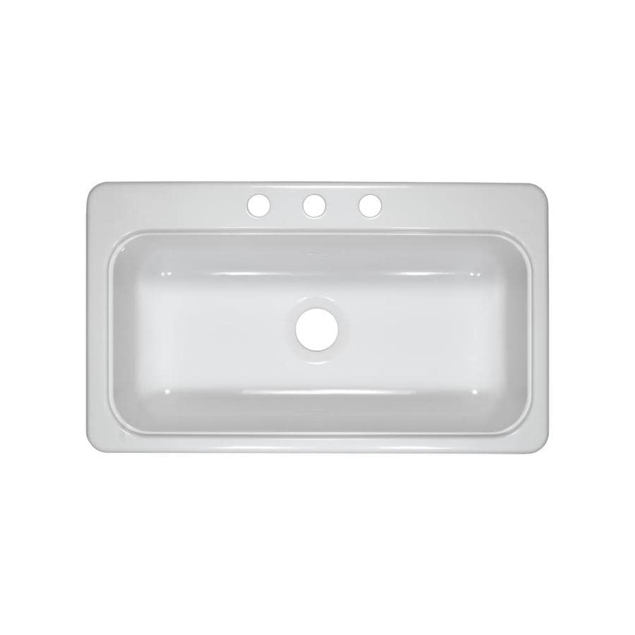Lyons Style Sb 19-in x 33-in White Single-Basin Acrylic Drop-in or Undermount 3-Hole Commercial/Residential Kitchen Sink