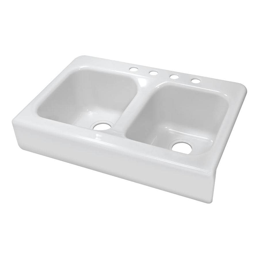 White Double Kitchen Sink : Shop Lyons Apron 23-in x 34-in White Double-Basin Acrylic Apron Front ...