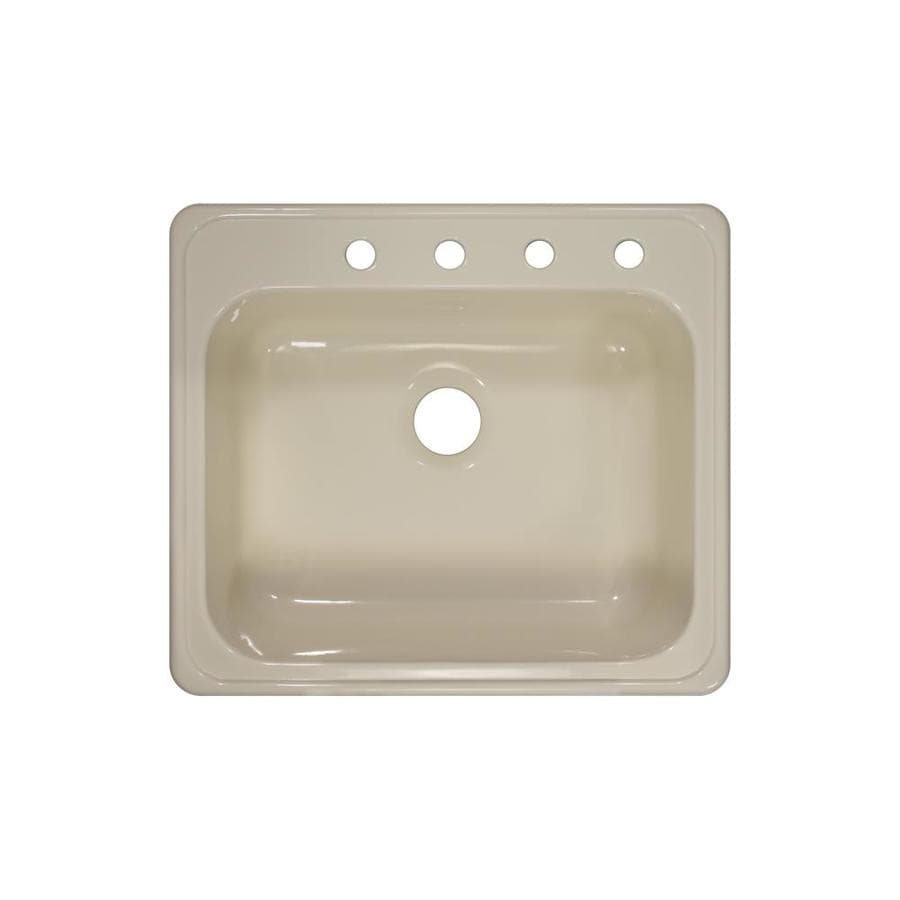 Lyons Style X 22-in x 25-in Almond Single-Basin Acrylic Drop-in 4-Hole Commercial/Residential Kitchen Sink