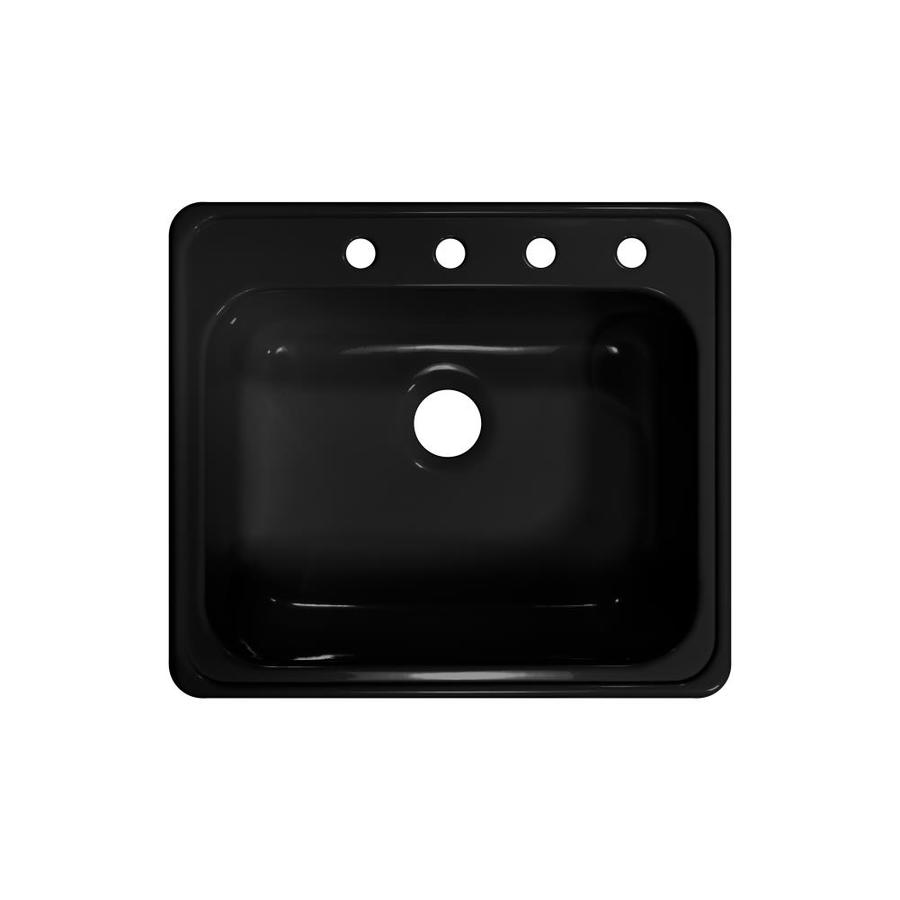 Lyons Style x 22-in x 25-in Black Single-Basin Acrylic Drop-in 4-Hole Commercial/Residential Kitchen Sink
