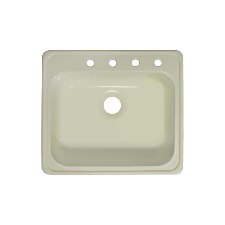 Lyons Style x 22-in x 25-in Biscuit Single-Basin-Basin Acrylic Drop-in 4-Hole Commercial/Residential Kitchen Sink
