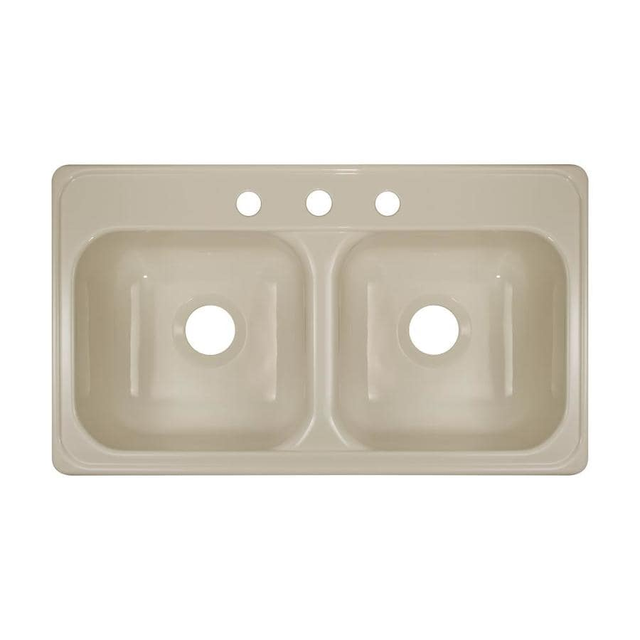 Lyons Style J 19-in x 33-in Almond Double-Basin Acrylic Drop-in 3-Hole Commercial/Residential Kitchen Sink