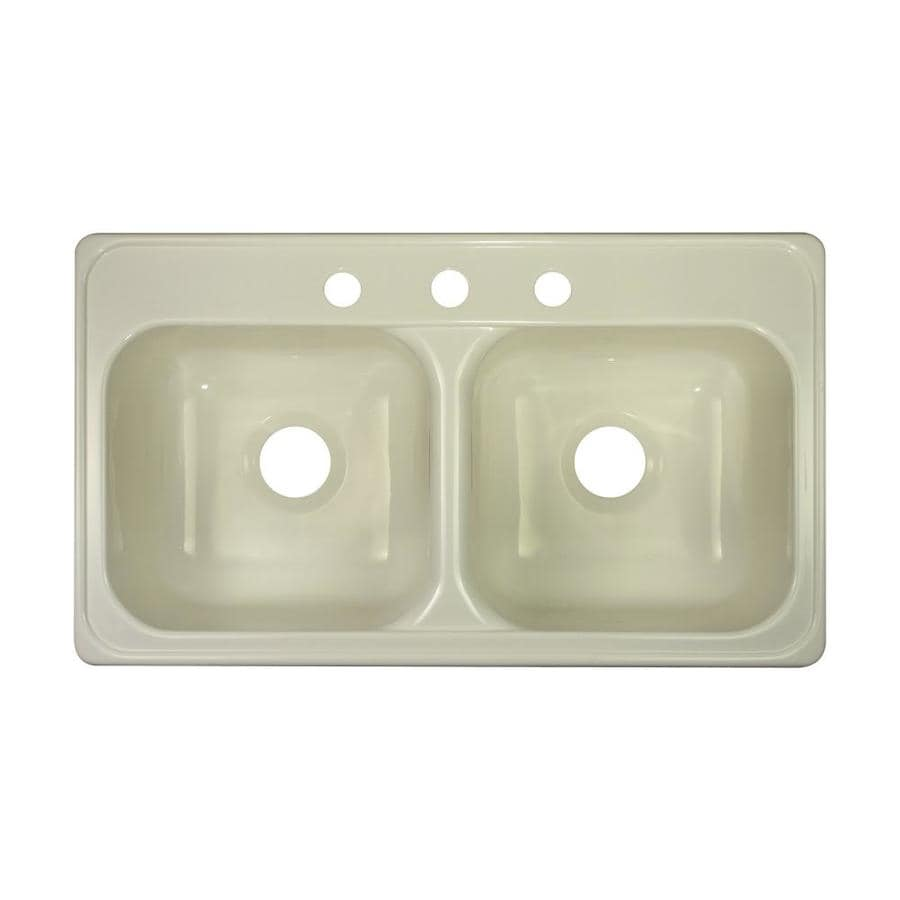 Lyons Style J 19-in x 33-in Biscuit Double-Basin Acrylic Drop-in 3-Hole Commercial/Residential Kitchen Sink