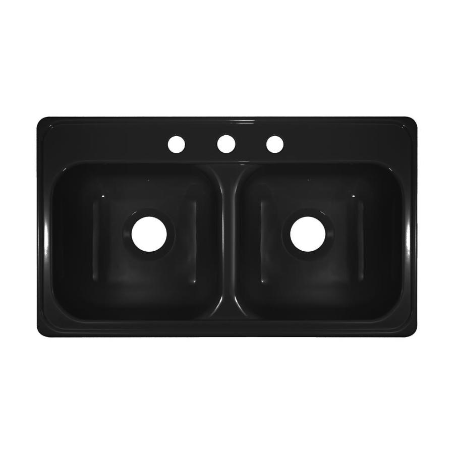 Lyons Style J 19-in x 33-in Black Double-Basin Acrylic Drop-in 3-Hole Commercial/Residential Kitchen Sink