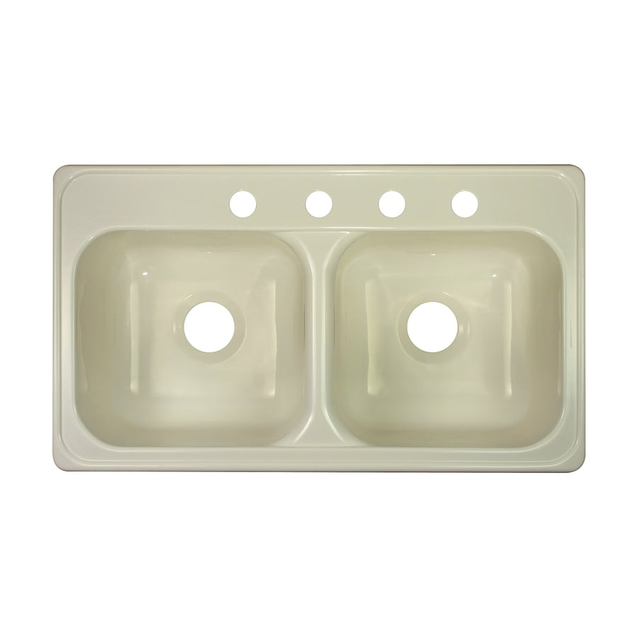 lyons style j 19 in x 33 in biscuit double basin acrylic drop shop lyons style j 19 in x 33 in biscuit double basin acrylic drop      rh   lowes com