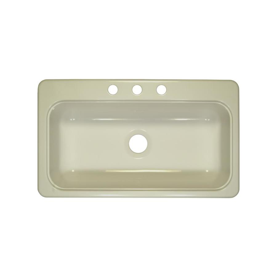 Lyons Style SB 19-in x 33-in Biscuit Single-Basin Acrylic Drop-in or Undermount 3-Hole Commercial/Residential Kitchen Sink