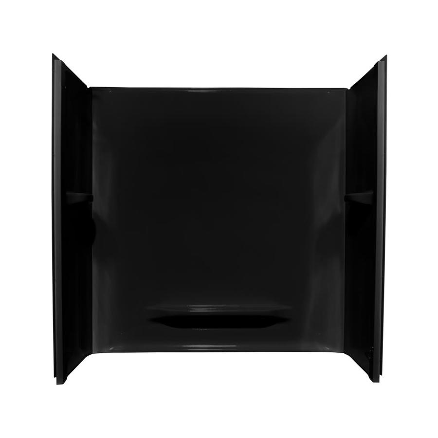 Style Selections Black Acrylic Bathtub Wall Surround (Common: 30-in x 60-in; Actual: 59-in x 30-in x 60-in)