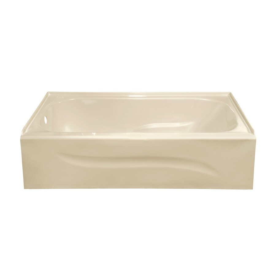 Style Selections Almond Acrylic Rectangular Skirted Bathtub with Left-Hand Drain (Common: 30-in x 60-in; Actual: 16-in x 30-in x 59.875-in)
