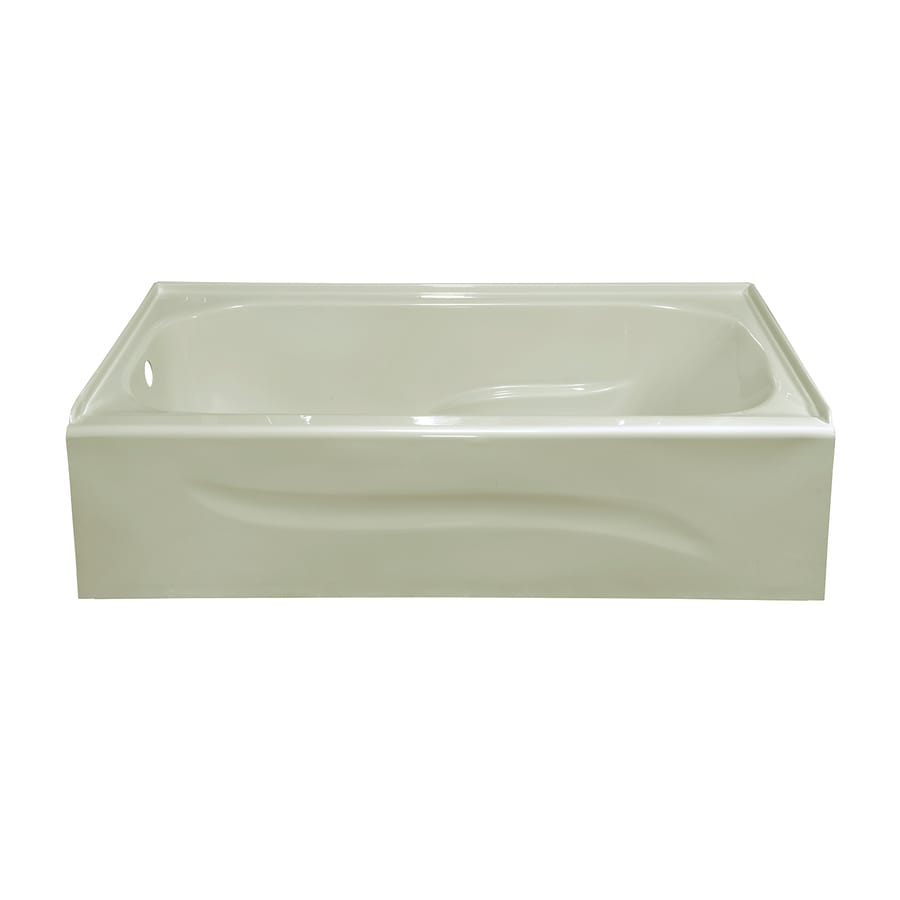 Style Selections 59.875-in Biscuit Acrylic Skirted Bathtub with Left-Hand Drain