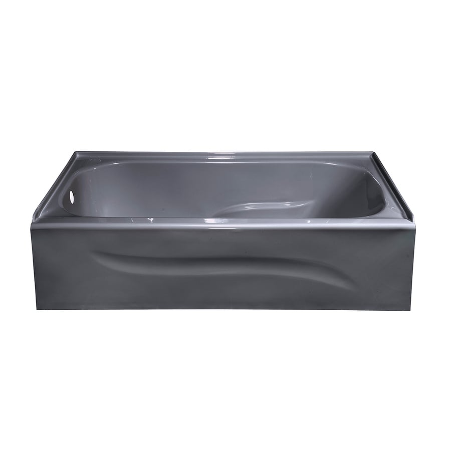 Style Selections Silver Metallic Acrylic Rectangular Skirted Bathtub with Left-Hand Drain (Common: 30-in x 60-in; Actual: 16-in x 30-in x 59.875-in)