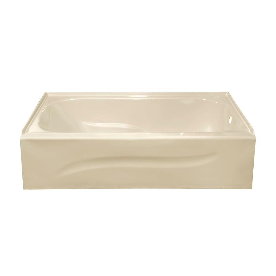 Style Selections 59.875-in Almond Acrylic Alcove Bathtub with Right-Hand Drain