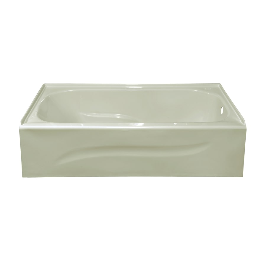 Style Selections 59.875-in Biscuit Acrylic Skirted Bathtub with Right-Hand Drain