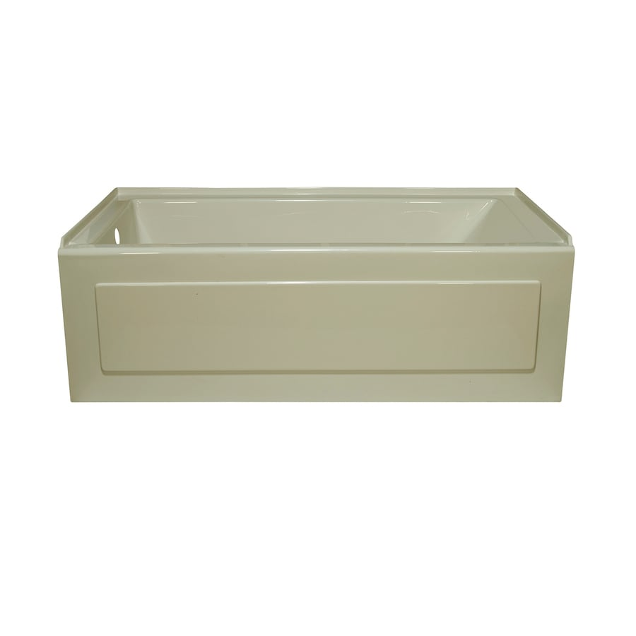 Style Selections Biscuit Acrylic Rectangular Alcove Bathtub with Left-Hand Drain (Common: 32-in x 60-in; Actual: 19-in x 32-in x 59.875-in)