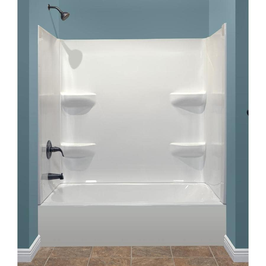 Style Selections 53.875-in White Acrylic Alcove Bathtub with Left-Hand Drain