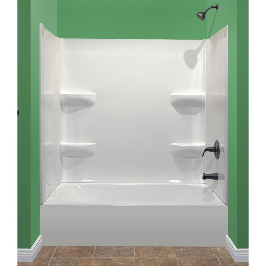 Style Selections White Acrylic Oval in Rectangle Skirted Bathtub with Right-Hand Drain (Common: 27-in x 54-in; Actual: 16-in x 27-in x 53.875-in)