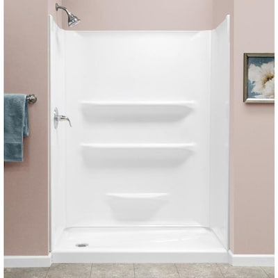 27 X 54 Shower Base.Style Selections 54x27 White Acrylic Shower Base 54 In W X 27 In L With Left Drain