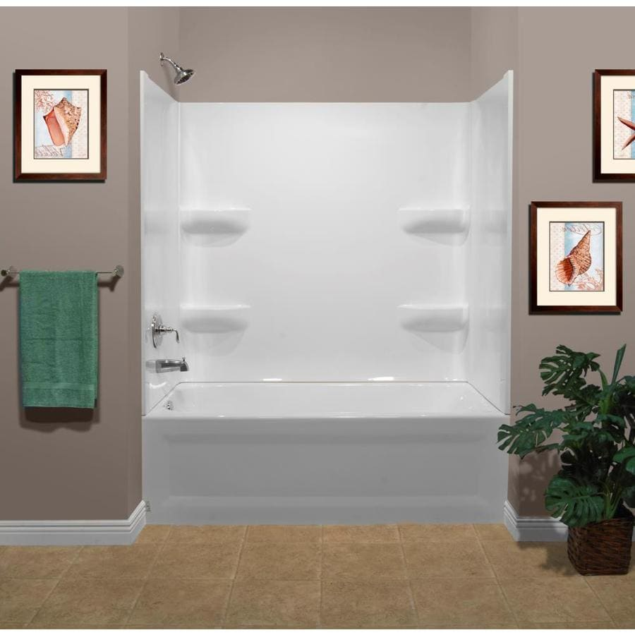 Style Selections 53.875-in White Acrylic Skirted Bathtub with Left-Hand Drain