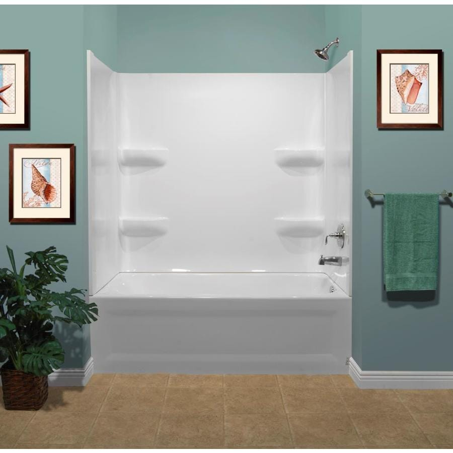 Shop style selections white acrylic bathtub wall surround for How deep is a normal bathtub