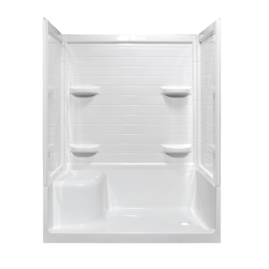 Style Selections White Acrylic Wall and Floor 4-Piece Alcove Shower Kit (Common: 32-in x 60-in; Actual: 78.125-in x 32-in x 59.875-in)