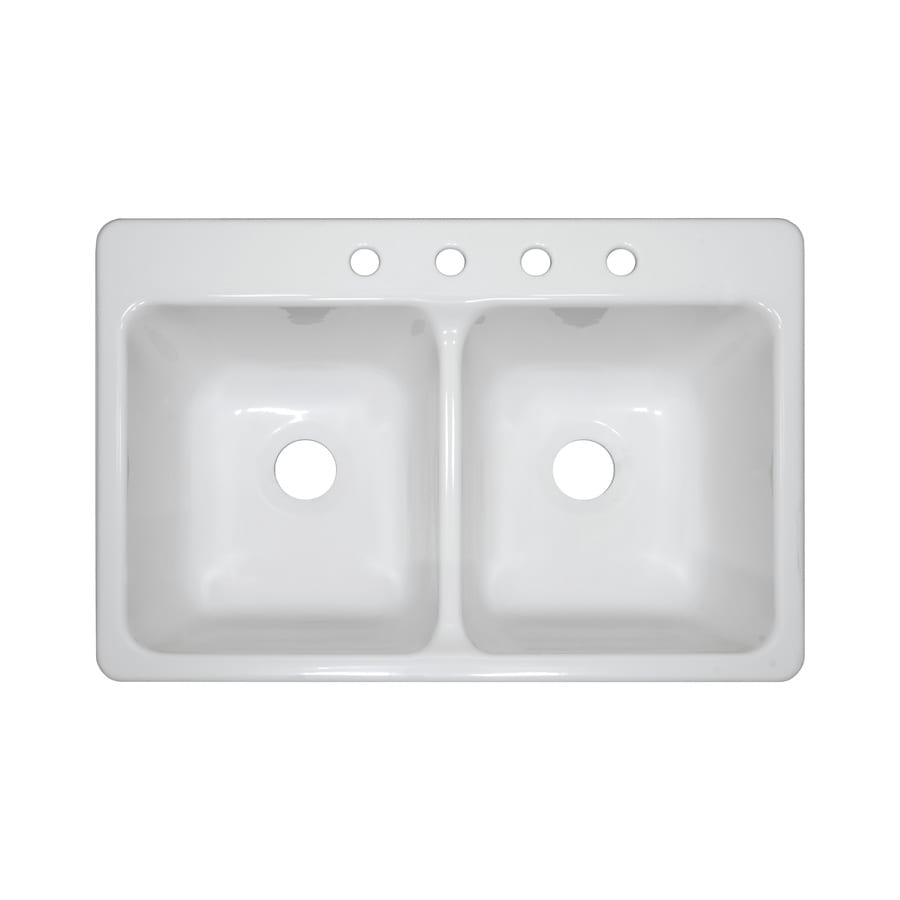 Shop Lyons Bravo 33 In X 22 In White Double Basin Acrylic Drop In 4 Hole Residential Kitchen