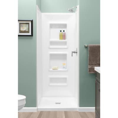 White Shower Wall Surround Panel Kit Common 32 In X Actual