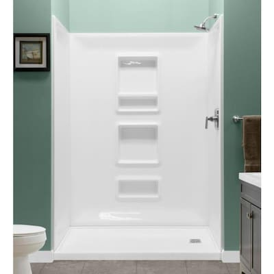 White Shower Wall Surround Panel Kit Common 32 In X 60 Actual