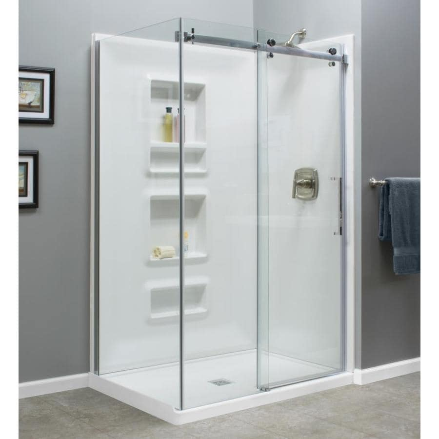 Style Selections Tao 72 In H X 34 In W Clear Shower Glass Panel