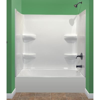 Style Selections 54x27 White 2 Piece Bathtub Shower Kit Common