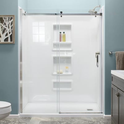White 4 Piece Alcove Shower Kit Common 32 In X 60 Actual 59 875
