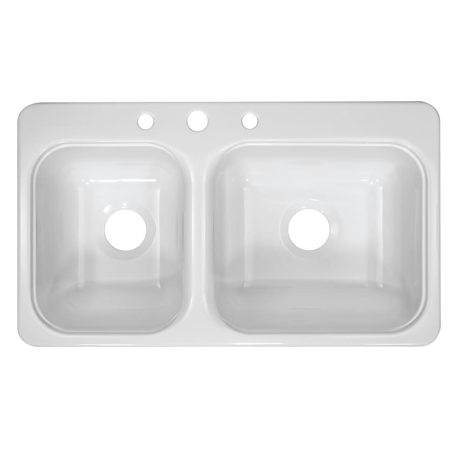 Kitchen Sink 19 X 33: Shop Lyons Style C 19-in X 33-in White Double-Basin