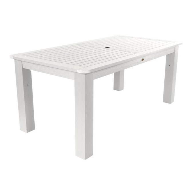 Highwood Rectangle Outdoor Dining Table 37 1 In W X 72 In L With Umbrella Hole In The Patio Tables Department At Lowes Com