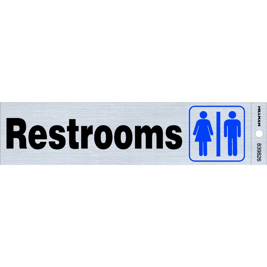 Bathroom Signs Lowes shop hillman 2-in x 8-in restrooms sign at lowes