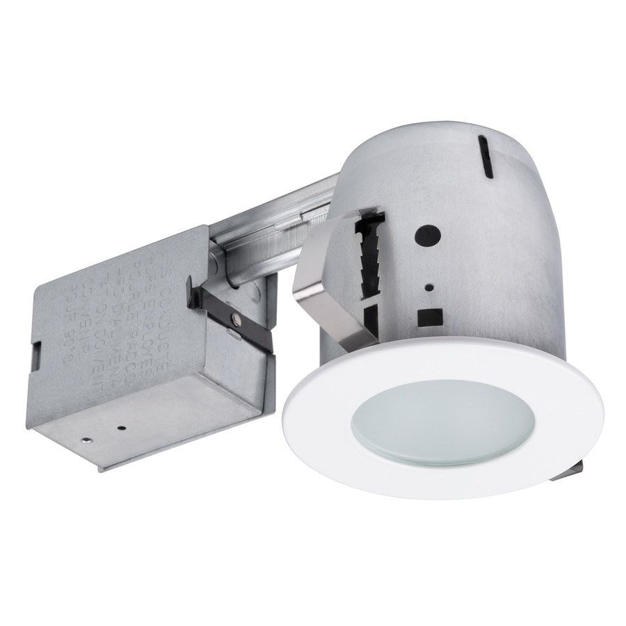 Shop globe electric white remodel and new construction recessed light kit fits opening 4 in Bathroom recessed lighting placement