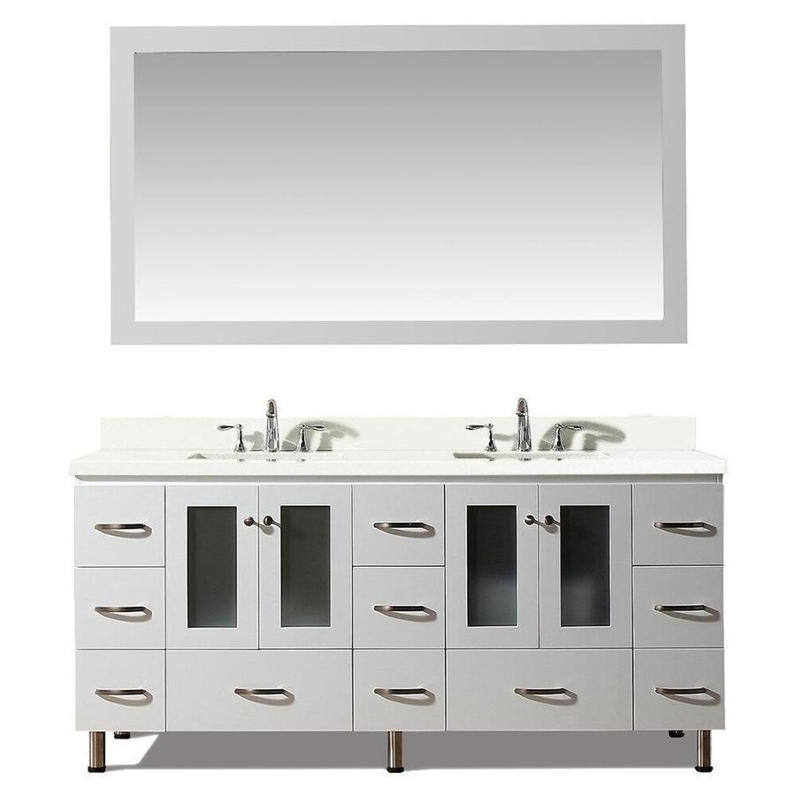 ARIEL Americano White Undermount Double Sink Bathroom Vanity with Quartz Top (Common: 73-in x 22-in; Actual: 73-in x 22-in)