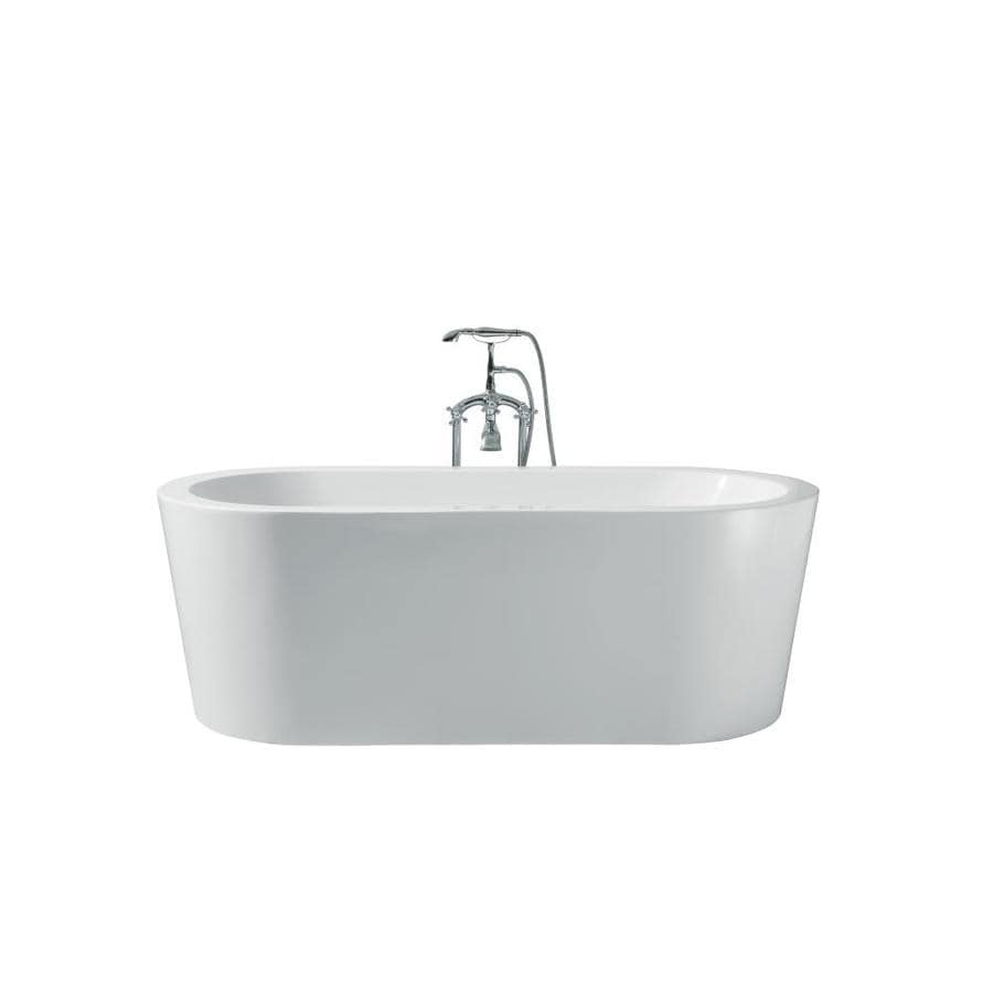 ARIEL Charlotte 67-in White Acrylic Freestanding Bathtub with Center Drain