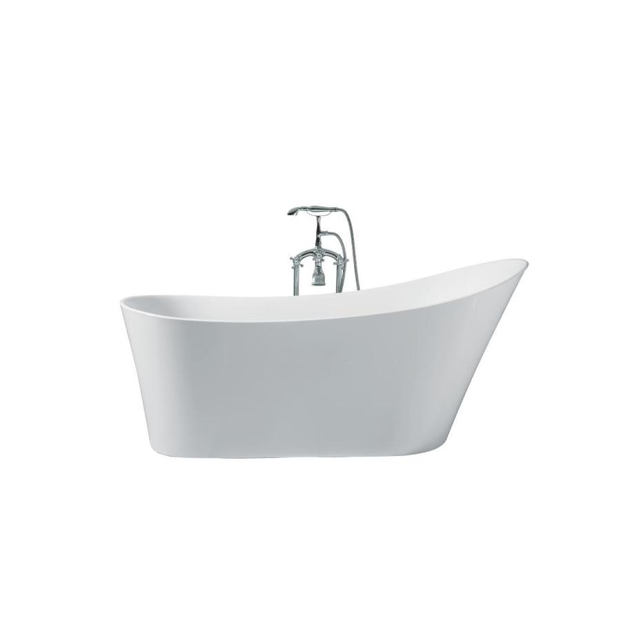 ARIEL Paris 67 In White Acrylic Freestanding Bathtub With Right Hand Drain