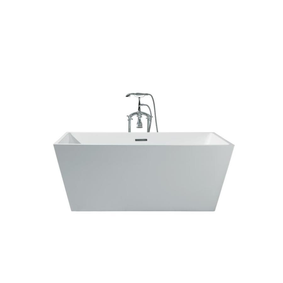 ARIEL Vero 67-in White Acrylic Freestanding Bathtub with Center Drain