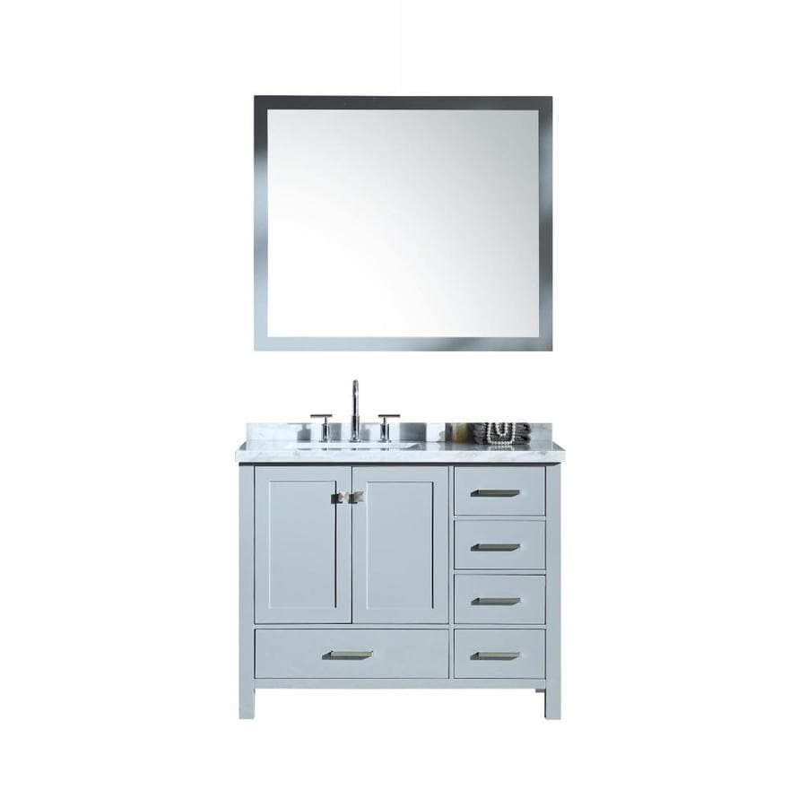 ARIEL Cambridge Grey Undermount Single Sink Bathroom Vanity with Natural Marble Top (Common: 43-in x 22-in; Actual: 43-in x 22-in)