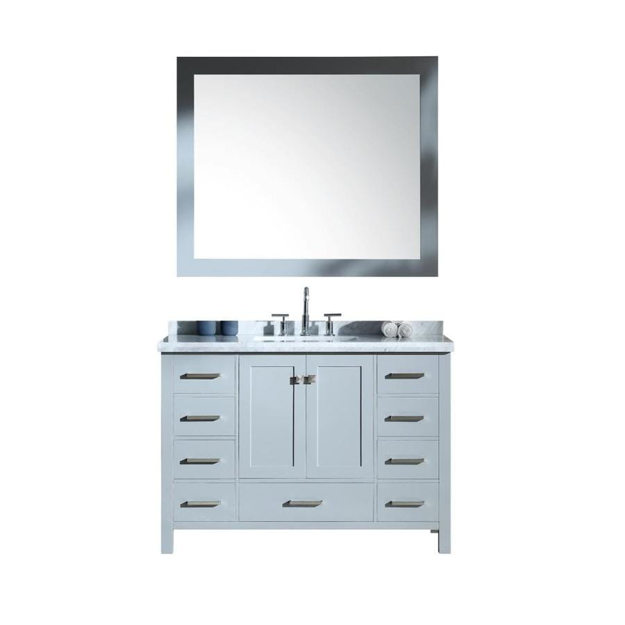 ARIEL Cambridge Grey Undermount Single Sink Bathroom Vanity with Natural Marble Top (Common: 49-in x 22-in; Actual: 49-in x 22-in)