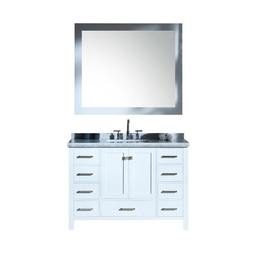 ARIEL Cambridge White Undermount Single Sink Bathroom Vanity with Natural Marble Top (Common: 49-in x 22-in; Actual: 49-in x 22-in)