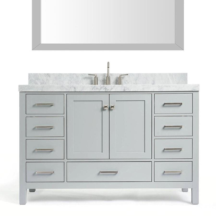 Shop ARIEL Cambridge Grey Single Sink Vanity with White Natural ...