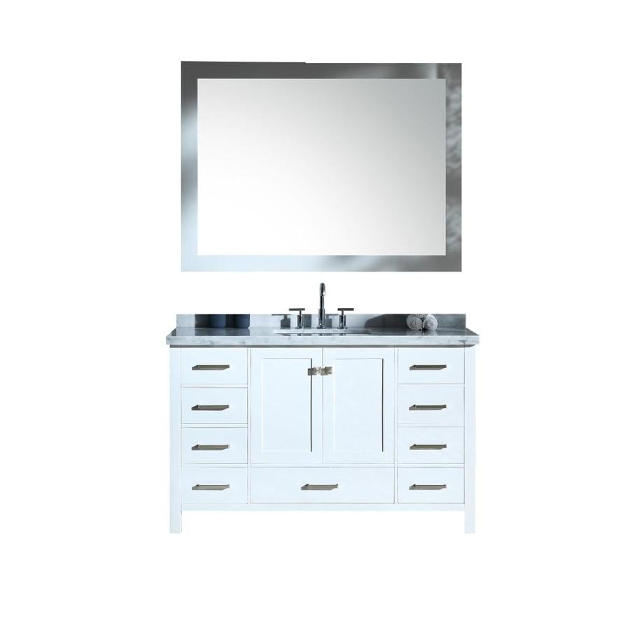 ARIEL Cambridge White Undermount Single Sink Bathroom Vanity with Natural Marble Top (Common: 55-in x 22-in; Actual: 55-in x 22-in)