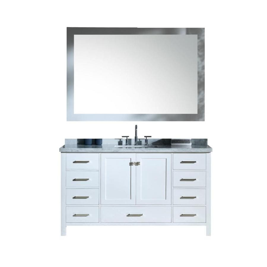 ARIEL Cambridge White Undermount Single Sink Bathroom Vanity with Natural Marble Top (Common: 61-in x 22-in; Actual: 61-in x 22-in)