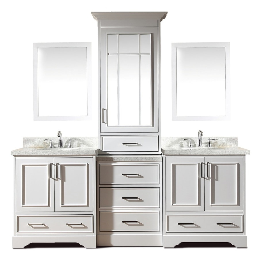 Ariel Stafford 85 In White Undermount Double Sink Bathroom Vanity With White Quartz Top Mirror Included In The Bathroom Vanities With Tops Department At Lowes Com