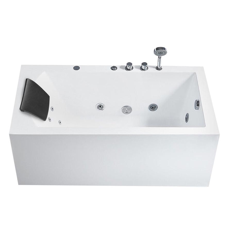 Shop ARIEL White Acrylic Rectangular Bathtub with Right-hand Drain ...
