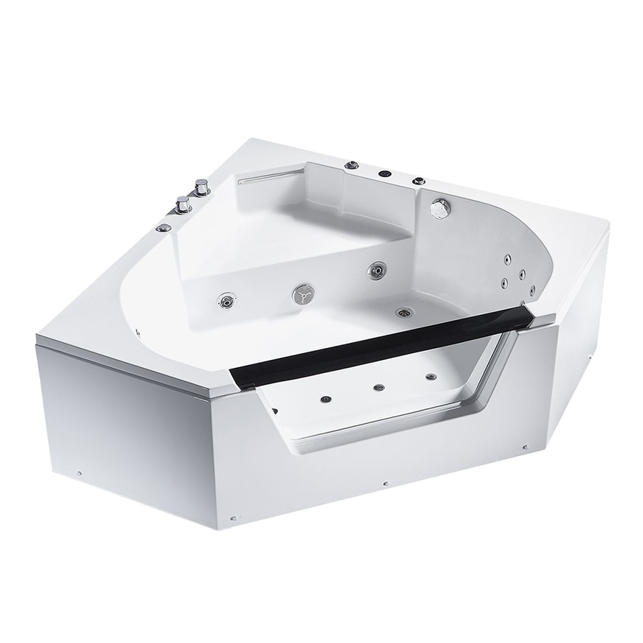 Shop ARIEL 59-in White Acrylic Corner Right-Hand Drain Whirlpool Tub ...