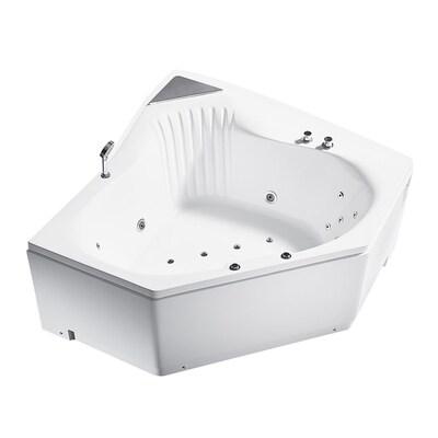 ARIEL 59-in White Acrylic Corner Center Drain Alcove