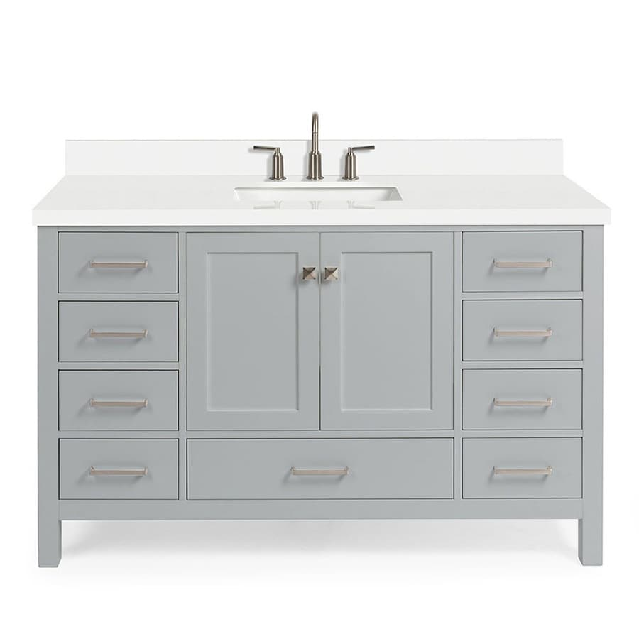 Ariel Cambridge 55 In Grey Undermount Single Sink Bathroom Vanity With Pure White Quartz Top In The Bathroom Vanities With Tops Department At Lowes Com