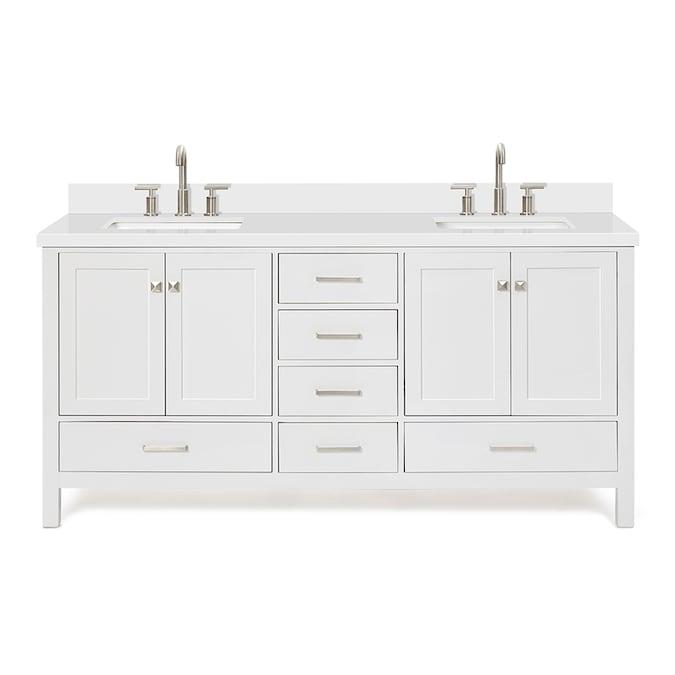 Ariel 73 In White Double Sink Bathroom Vanity With White Quartz